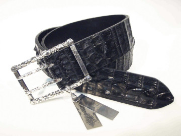 belt silver × crocodile