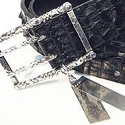 belt silver × crocodile